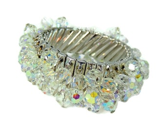 Vintage Crystal Expansion Bracelet Cha Cha Dangles Iridescent Bling 1950s
