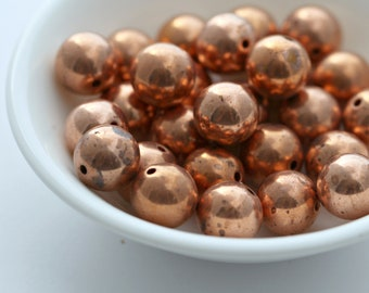 Vintage Round Lucite Copper Beads Aged Antiqued 10mm (20)