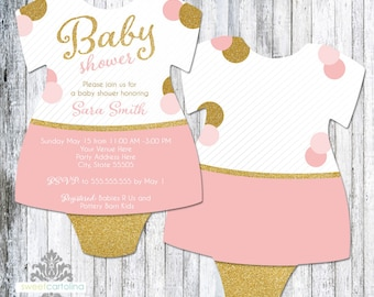 Pink and Gold Baby Shower Invitation | Glitter Shower Invite | Baby Girl Shower Invite | Printed Invitation | Baby Dress Bodysuit