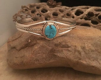 Vintage Navajo Turquoise & Sterling Silver Signed Cuff Bracelet