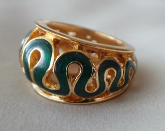 Lanvin T 53 unsigned enamel Golden brass ring