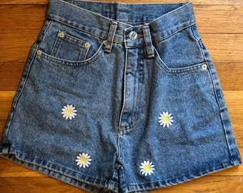 Vintage 1990's High Waisted Embroidered Daisy Denim Shorts