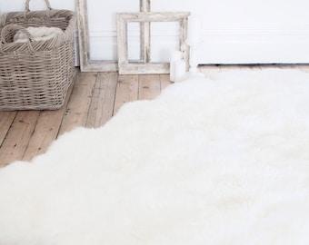 Super Large 6ft x 6ft White Sheepskin Rug & Throw - The Leja Sexto