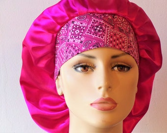 Scrub Hats Satin Bouffant/Pink Satin Scrub Cap/Women Scrub Hats-Scrub Caps/Sleeping Bonnet/Satin with a Pink Bandana Headband/Beauty Bonnet