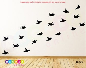 Set 21 Flying Birds wall decal, Birds wall stickers, Birds nursery wall stickers, kids room decor, Flock of Birds Flying stickers