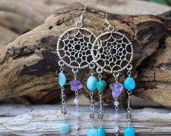 Silver Dreamcatcher Earrings - Boho Beach - Boho Mermaid - Mermaid Jewelry - Mermaid Earrings - Amethyst - Boho Style - Boho Earrings