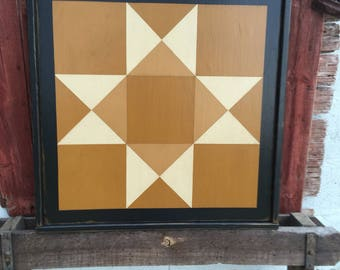 PriMiTiVe Hand-Painted Barn Quilt, Small Frame 2' x 2' - Texas Star Pattern (also called Ohio Star)
