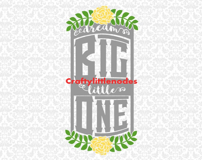 Dream Big Little One Nursery Decor SVG STUDIO Ai EPS Scalable Vector Instant Download Cutting File Commercial Use Cricut Silhouette