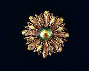 WEISS vintage blue green iridescent aurora borealis rhinestones and cabochon starburst flower brooch pin - antique jewelry, unique gift