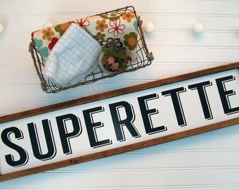 Superette Sign . Superette . Fixer Upper Style . Farmhouse Kitchen . Fixer Upper . 30 x 7 . Market Sign . Gallery Wall . Wall Signs