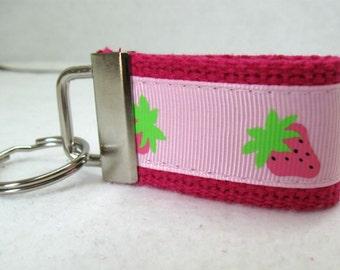 Strawberries Mini Key Fob - PINK Fruit Keychain - Strawberry Key Ring - Fruit Zipper Pull - Small Key Chain - Ready to Ship