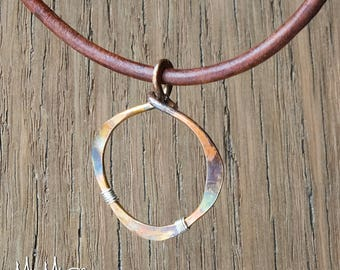 Bohemian Necklace, Mixed Metal Earrings, Rustic Bronze Necklace, Circle Pendant, Leather Cord Necklace, Pendant Necklace, Necklace for Her