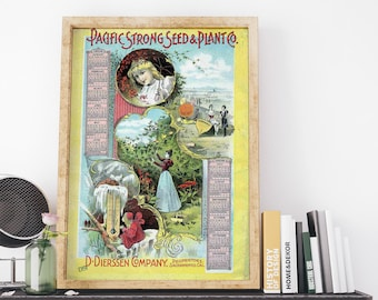 Pacific Strong Seed and Plant Co  Vintage USA Advertising Poster Art Print