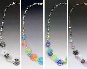 Peppermint Necklace: multiple colors shown - handmade glass lampwork beads with sterling silver components