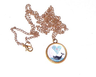 golden Love Whale necklace