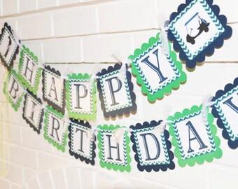 Golf banner, Happy Birthday banner, Golf party, Golf cart, Chevron banner, chevron golf banner, blue and green