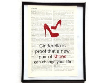 New shoes change your life vintage art print encyclopedia art print encyclopedia old book pages