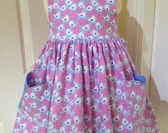 Summer Sale Girls dress age 2 to 3, birds and flowers with pockets, fully lined