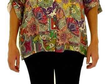 IH700MF38 ladies shirt Paisey vintage turn up arm Gr. 38/40