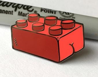 Lego brick BUTT Enamel Lapel Pin