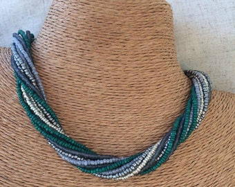 Green beaded necklace, green gray necklace, multi-strand necklace, grey bridesmaids, grey necklace, bridesmaids necklace, twisted necklace