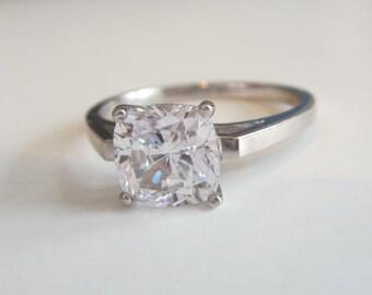 Cushion-Cut Engagement Rings, Cushion-cut CZ Ring, Cushion Cut Halo Silver Engagement Ring, Cushion Cut Engagement Ring with CZ Promise Ring