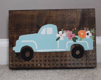 Flower Truck Decorative Wood Sign