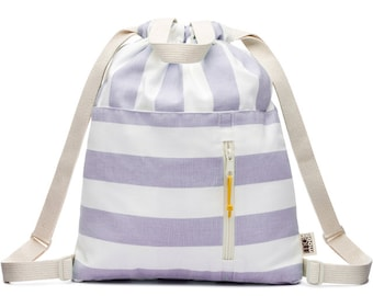 Lavender Stripe Canvas Drawstring Kids Backpack Tote Bag, Drawstring Backpack, Drawstring Pouch, Small Drawstring Bag, Cotton Drawstring Bag