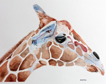 Original Watercolor Giclee Print, Giraffe painting, watercolor giraffe, giraffe art print, watercolour giraffe, giraffe art