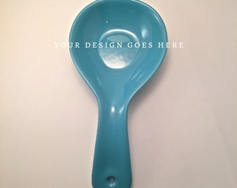 spoon rest, blue, personalized quote design, custom, ceramic, 9th ninth anniversary gift
