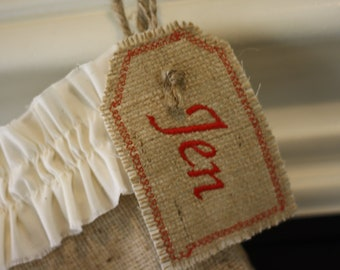Personalized Embroidered Burlap Stocking Tag, Reusable Gift Tag