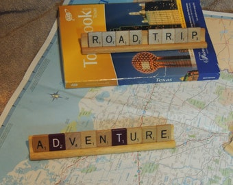 Road Trip, Adventure, State name, Vacation -- Scrabble Tile -- Custom signs
