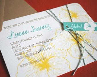 Vintage Hawaiian invitation, teal and yellow, set of 10, tropical Bridal Shower Invitation, Luau Party Aloha Hawaiian Wedding Party Invite