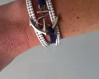 Navy suede anchor bracelet Navy blue/white