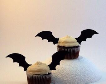 Bat Wing Cupcake Topper, 24 Wings (12 Sets), Halloween Cake Picks, Pink Bat Cupcake Topper, Purple Bat Wings, Red Bat Cupcake Topper, Bats