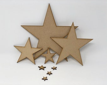 Star Shapes MDF 20mm up to 200mm Wooden Star Shape