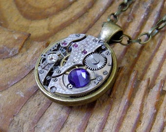 Steampunk Necklace / Pendant - Featuring a 15 Jewel Vintage Swiss Watch Movement and Purple Swarovski Crystal.