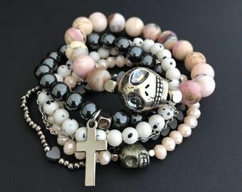 Libra Zodiac Bracelets, October Silver Bracelet 6 Stack, Pink Opal Skull Gemstone Bracelets, October Birthday Jewelry, Skull Bracelet