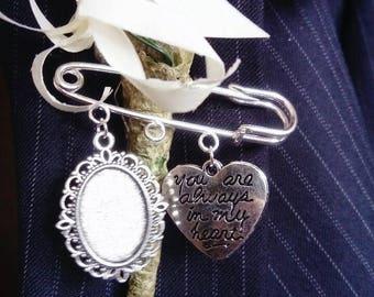 New Bride/Groom Handmade Buttonhole, Bouquet, Lapel, Garter Cameo Memory Pin