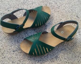 Holidays Sale 20%, Free Shipping, vegan Sandals, foodbet sandals, Summer Shoes, , Straps Sandals  vegan  Style MÁLAGA GREEN