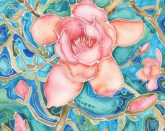 Magnolia Forest 8.5 x 11 print of beautiful flower blooms, pink turquoise teal salmon coral peach olive moss green rose wood spring blossoms