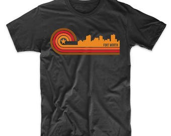 Retro Style Fort Worth Texas Skyline T-Shirt