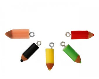 10 charms pencils multicolored 22x7mm