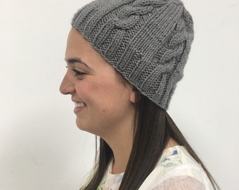 Grey Cable Knit Slouchy Hat