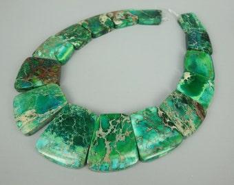 Full Strand Green Imperial Jasper, Sea Sediment Jasper Faceted Unique Stone Pendant Beads, Flat Slab Nugget Freeform Top Drilled Loose Beads