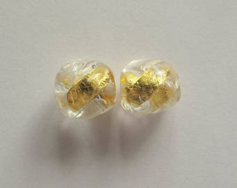 Vintage Pure Gold in Glass Beads Pair, Murano Italy