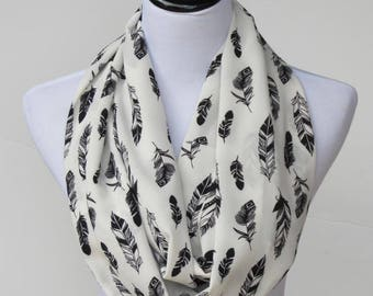 Feathers scarf feather print infinity scarf ivory white black feather scarf bohemian LONG scarf loop scarf, traditional circle scarf