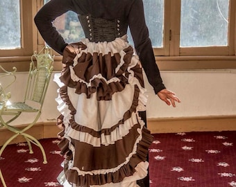 Brown and white cosplay steampunk bustle