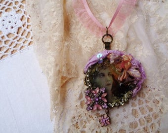 Boho necklace, Pink Necklace,  Romantic necklace,Gift for HER