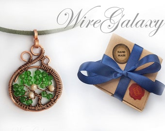 Tree of life Necklace Copper Wire Pendant with Green Crystal Protection Amulet Family Tree Jewelry Wire Wrapped Necklace  Talisman Luck